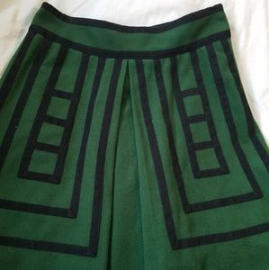 Maeve Hunter Green and Black Wool Skirt